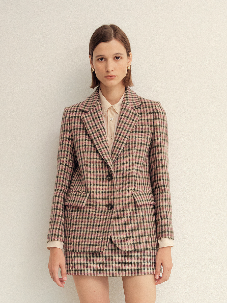 [S사이즈 26일 예약배송]PINK GINGHAM CHECK SINGLE FIT WOOL JACKET  핑크 깅엄 체크 싱글핏 울 자켓
