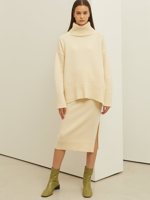IVORY CASHMERE WOOL KNIT SKIRT