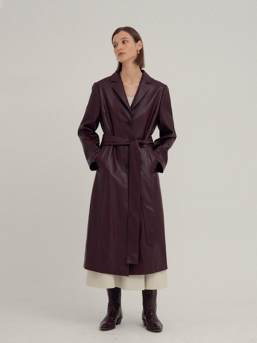 [이효리 착용] BURGUNDY JAY ECO LEATHER COAT