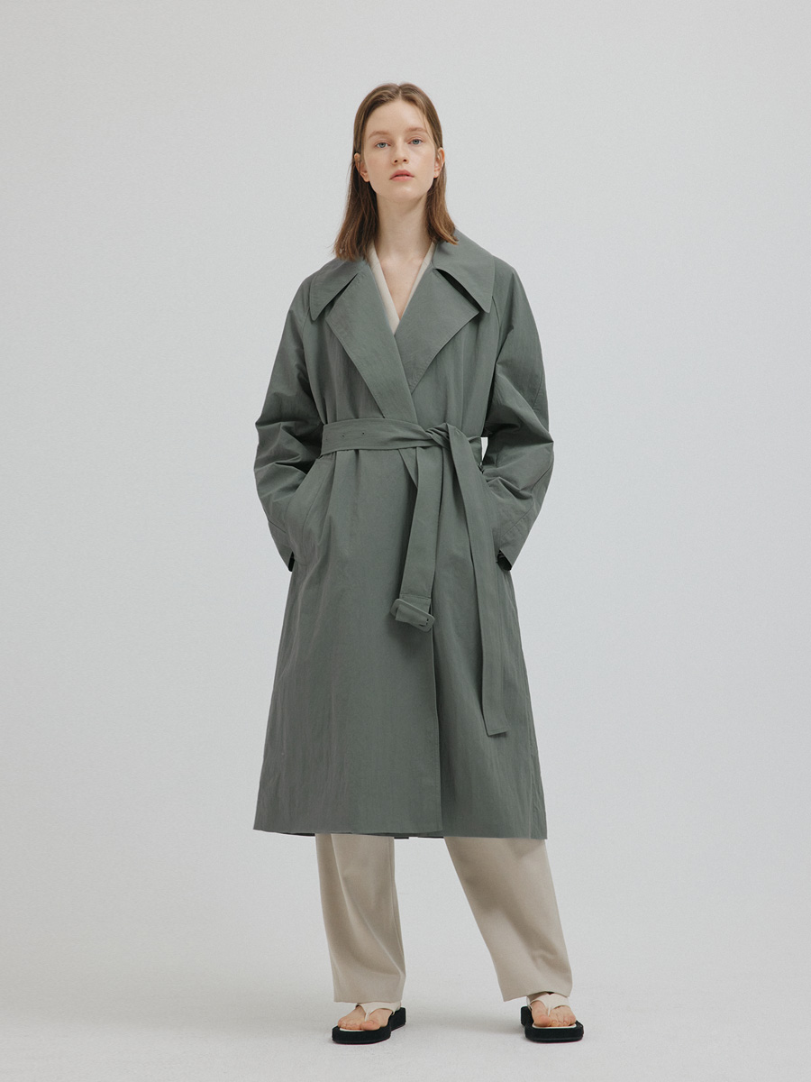 GREEN HELENA OVERSIZE TRENCH COAT